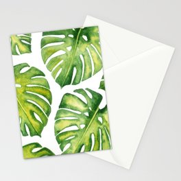 Monstera deliciosa pattern in watercolor Stationery Cards