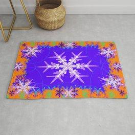 Purple Snowflake Modern Art Abstract Rug