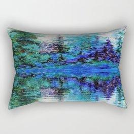SCENIC BLUE MOUNTAIN PINES LAKE REFLECTION Rectangular Pillow