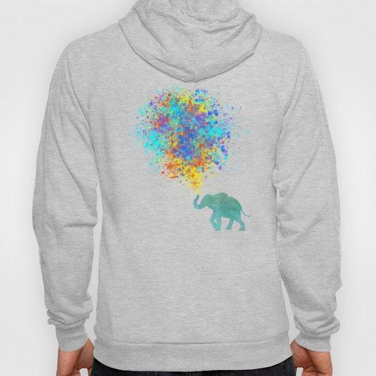 Elephant Colorful Celebration - watercolor splatter by maryedenoa