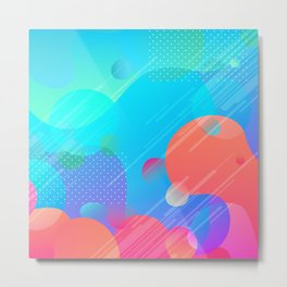 Pink And Blue Abstract Design Metal Print