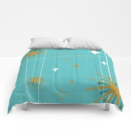 Atomic Burst Teal White and Gold Comforters