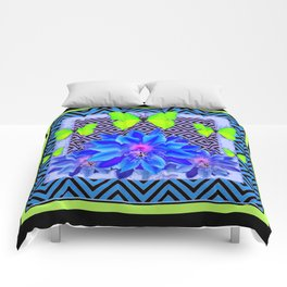 Lime Green Butterflies Blue Tropical Flower Graphic Art Comforters