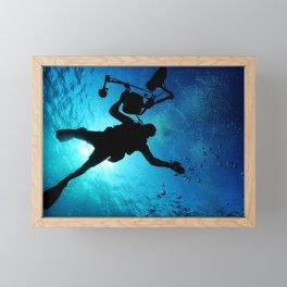 Scuba Diver Cameraman Framed Mini Art Print