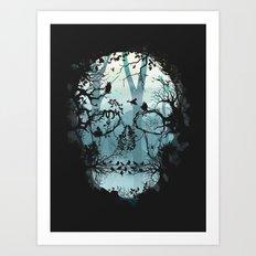 Dark Forest Skull Art Print