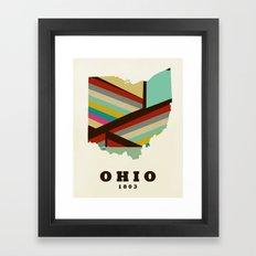 Ohio state map modern Framed Art Print