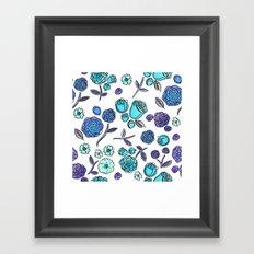 Blue Velvet Roses Framed Art Print