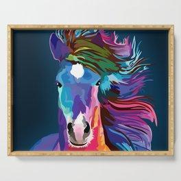 pop art horse Serving Tray