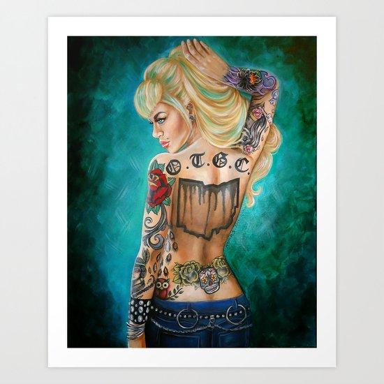 Ohio Tattooed Girls Calendar Cover Art Print