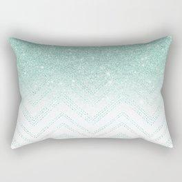 Faux teal glitter ombre modern chevron pattern Rectangular Pillow