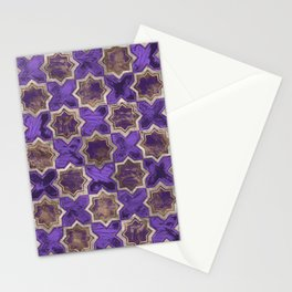 Oriental Tile pattern - Purple Acrylic and Gold Stationery Cards