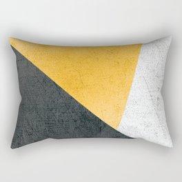 Modern Yellow & Black Geometric Rectangular Pillow