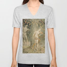 "William Blake ""The Temptation and Fall of Eve (Illustration to Milton's 'Paradise Lost')"" Unisex V-Neck"