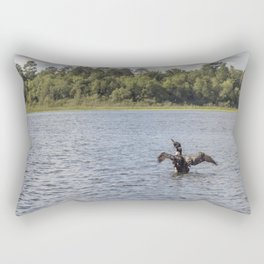 A Common Loon Fishing in the Summer Rectangular Pillow