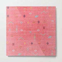 Cactus Silk Pattern in Pink Metal Print