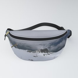 White snow and grey clouds Fanny Pack