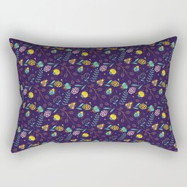 Flora & Beetles (purple) Rectangular Pillow