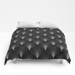 Silver gray and black art-deco pattern Comforters
