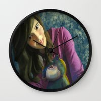 ale giorgini Wall Clocks featuring Ale+bichin by CataBeja Umaña Azul