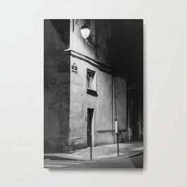 Paris at night | Parisian Building in Marais | Black and white | Travel Photography  Metal Print