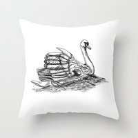 black swan Throw Pillows featuring Swan  by Amor et Squalore