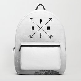PNW Pacific Northwest Compass - Black and White Forest Backpack