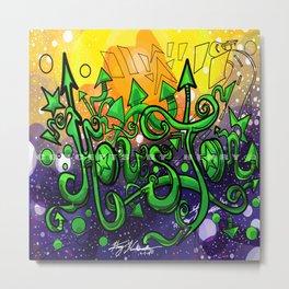 Houston_Lettering Design _Ink Illustration Concept Art:#010: Colored Version Metal Print