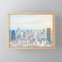 modern city skyline aerial view under sunrise and blue sky in Osaka, Japan Framed Mini Art Print