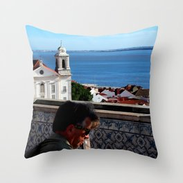 Music with sea view Throw Pillow