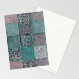 Nostalgic Patchwork Pattern Teal And Pink Stationery Cards