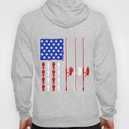 USA fishing rod & bass american flag fishing shirt Hoody