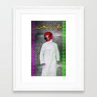 arab Framed Art Prints featuring Arab power ranger  by Bothayna Al Zaman