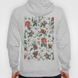 Festive Red Green Botanical Poinsettia Cactus Floral Pattern Hoody