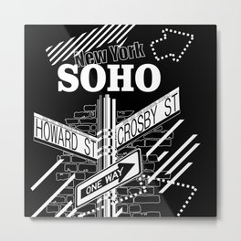 SoHo, New York Streets- white on black Metal Print