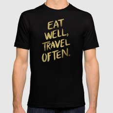 Eat Well Travel Often on Gold Mens Fitted Tee LARGE Black