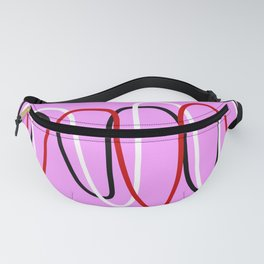 Abstract Red Black White Lines on Pink Fanny Pack