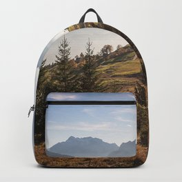 Saint Gallen mountain landscape morning sunrise green hills mountains Alps Switzerland Backpack