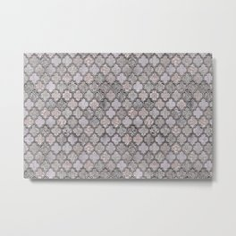 Blush And Grey Moroccan Tiles  Metal Print