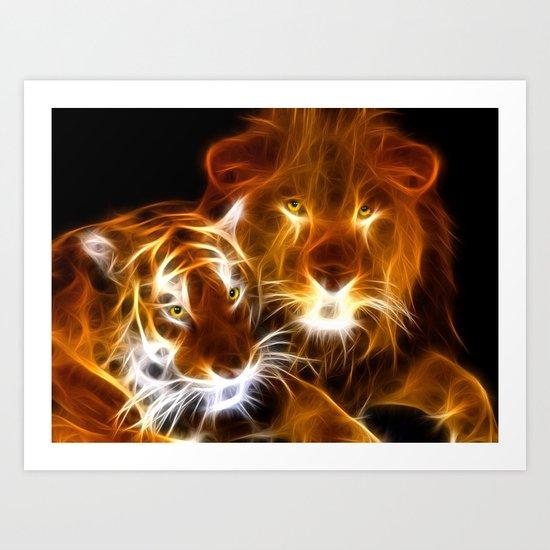 tiger lion  Art Print