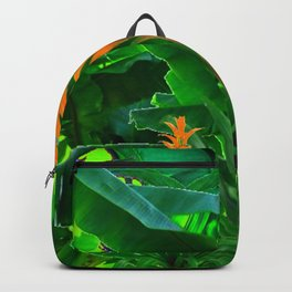 GREEN JUNGLE & TROPICAL CORAL BROMELIAD FLOWERS Backpack