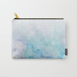 Fresh Blue and Aqua Ombre Frozen Marble Carry-All Pouch