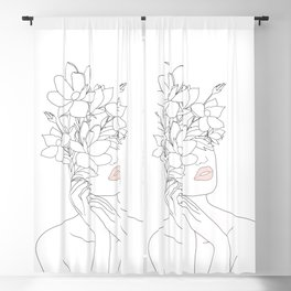 Minimal Line Art Woman with Magnolia Blackout Curtain