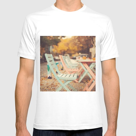 Dream Autumn (Pink and blue coffee shop chairs on retro and vintage fall) T-shirt