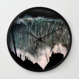 Monsters of Nazare (oil on canvas) Wall Clock