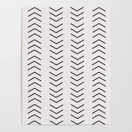 mudcloth pattern white black arrows Poster