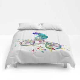 Boy on his BMX Bike Watercolor Comforters
