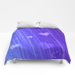 blue and heart Comforters