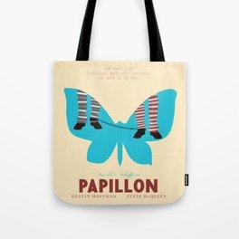 Papillon, Steve McQueen vintage movie poster, retrò playbill, Dustin Hoffman, hollywood film Tote Bag