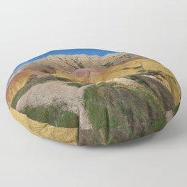 Colorful Badlands Landscape Floor Pillow