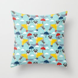 Schnauzer spring raincoat cute pattern for dog lover with schnauzers Throw Pillow